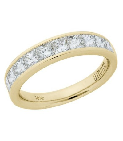 Rings - 1.51 Carat Princess Cut Diamond Ring 18Kt Yellow Gold