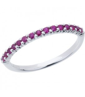 0.92 Carat Set of 3 Ruby and Diamond Rings 18Kt White Gold