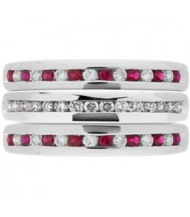 Rings - 0.81 Carat Ruby and Diamond Stacking Rings 18Kt White Gold