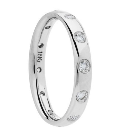 0.40 Carat Round Brilliant Diamond Eternity Ring 18Kt White Gold