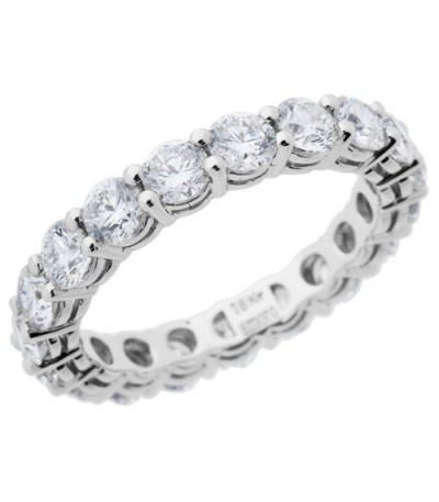 Rings - 2.85 Carat Round Brilliant Diamond Eternity Band 18Kt White Gold