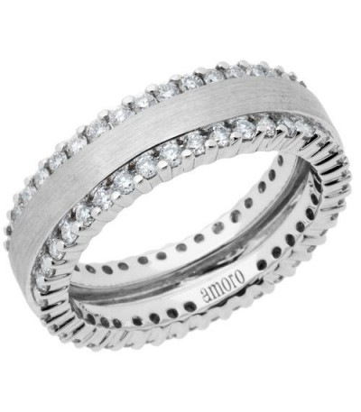 Rings - 1.14 Carat Round Brilliant Diamond Eternity Band 18Kt White Gold