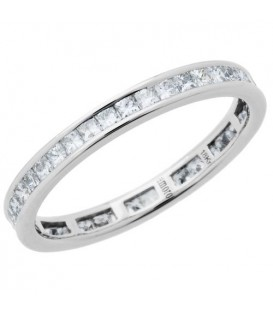 0.92 Carat Princess Cut Diamond Eternity Ring 18Kt White Gold