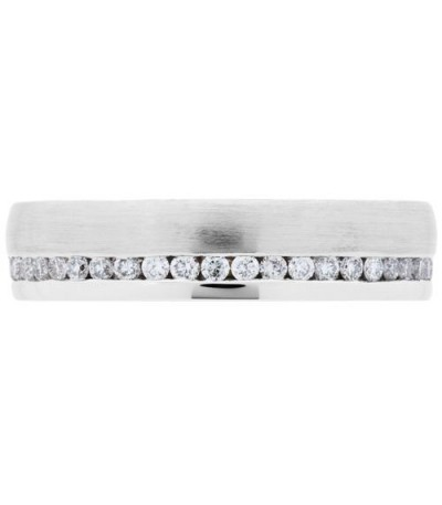 0.39 Carat Round Brilliant Diamond Eternity Ring 18Kt Brushed White Gold