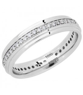 Rings - 0.24 Carat Round Brilliant Diamond Eternity Band 18Kt White Gold