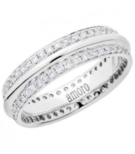 Rings - 0.53 Carat Round Brilliant Diamond Eternity Band 18Kt White Gold