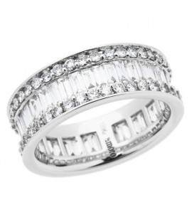 Rings - 3.15 Carat Baguette Cut and Round Brilliant Diamond Eternity Band 18Kt White Gold
