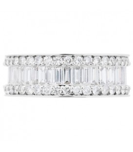 3.15 Carat Baguette Cut and Round Brilliant Diamond Eternity Band 18Kt White Gold