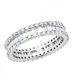 Rings - 1.78 Carat Baguette Cut and Round Brilliant Diamond Eternity Band 18Kt White Gold