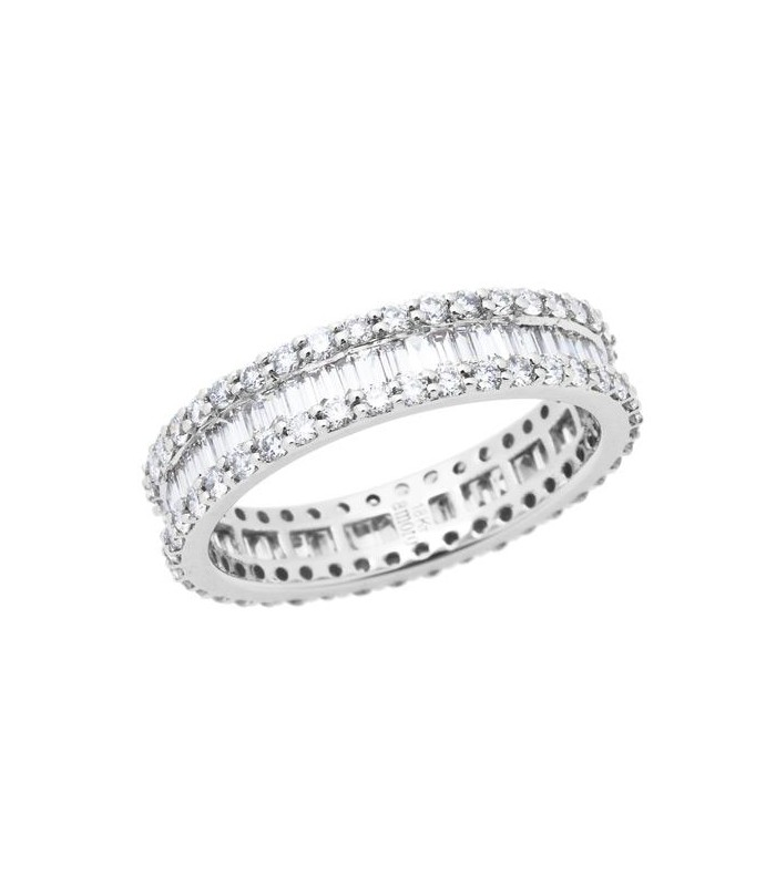 Baguette And Round Cut 1 78ct Diamond Ring 18kt White Amoro