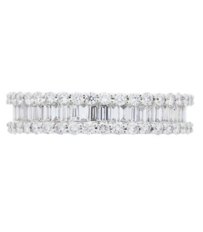 1.78 Carat Baguette Cut and Round Brilliant Diamond Eternity Ring 18Kt White Gold