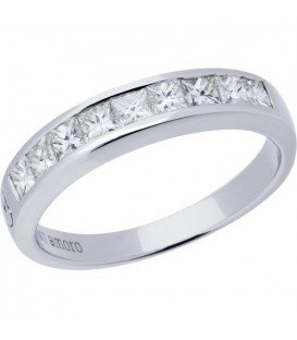 Rings - 0.67 Carat Princess Cut Diamond Band 18Kt White Gold