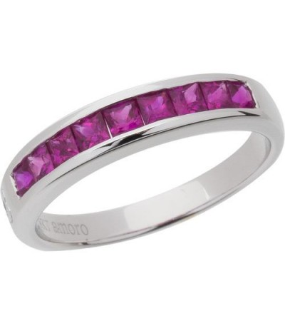 Rings - 1.20 Carat Princess Cut Ruby Band 18Kt White Gold