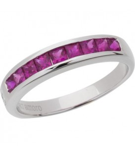 More about 1.20 Carat Princess Cut Ruby Band 18Kt White Gold