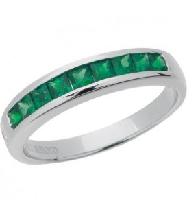 Rings - 0.90 Carat Square Cut Emerald Band 18Kt White Gold