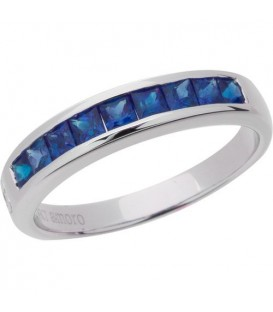 Rings - 1.20 Carat Square Cut Sapphire Band 18Kt White Gold