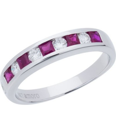 Rings - 0.88 Carat Square Cut Ruby and Diamond Band 18Kt White Gold