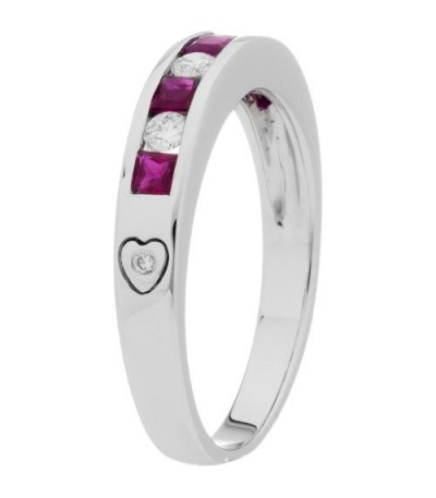 0.88 Carat Square Cut Ruby and Diamond Band 18Kt White Gold