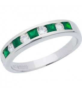 Rings - 0.73 Carat Square Cut Emerald and Diamond Band 18Kt White Gold