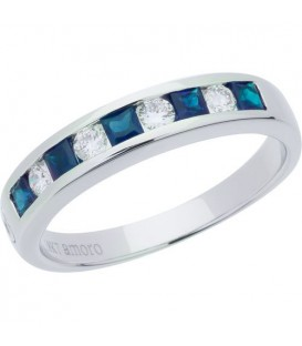 0.88 Carat Square Cut Sapphire and Diamond Band 18Kt White Gold