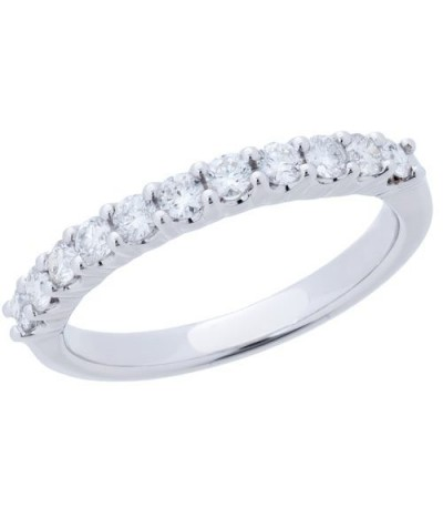 Rings - 0.50 Carat Round Brilliant Diamond Band 18Kt White Gold