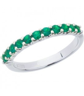 Rings - 0.55 Carat Round Cut Emerald Band 18Kt White Gold