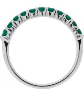 0.55 Carat Round Cut Emerald Band 18Kt White Gold