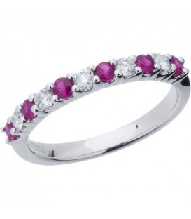 More about 0.66 Carat Round Cut Ruby and Diamond Band 18Kt White Gold