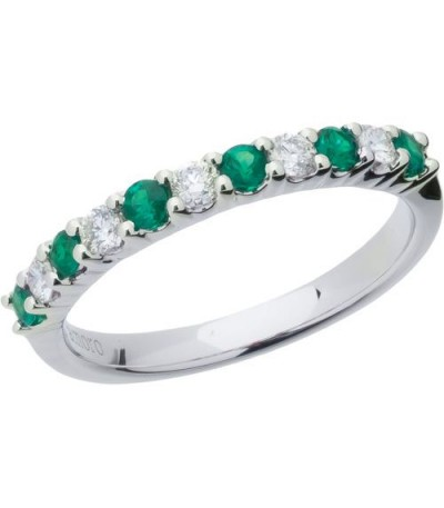 Rings - 0.60 Carat Round Cut Emerald and Diamond Band 18Kt White Gold