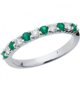 More about 0.60 Carat Round Cut Emerald and Diamond Band 18Kt White Gold