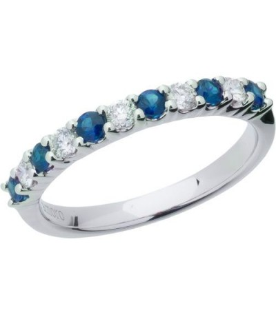 Rings - 0.66 Carat Round Cut Sapphire and Diamond Band 18Kt White Gold