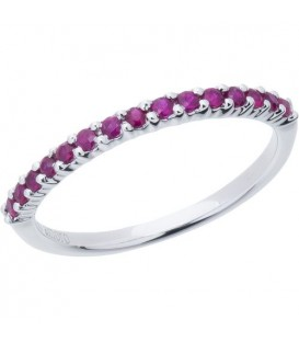 0.30 Carat Round Cut Ruby Band 18Kt White Gold