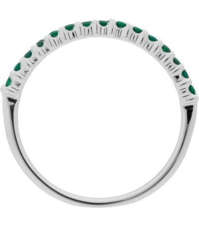 0.30 Carat Round Cut Emerald Band 18Kt White Gold