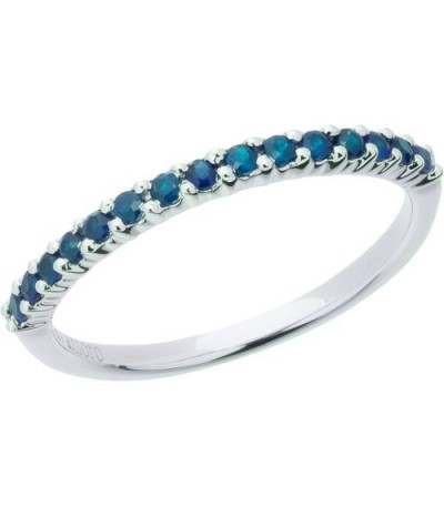 Rings - 0.30 Carat Round Cut Sapphire Band 18Kt White Gold