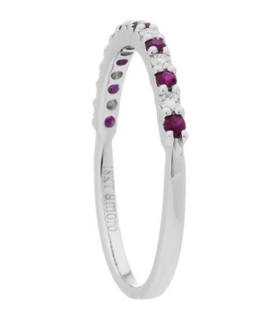 0.28 Carat Round Cut Ruby and Diamond Band 18Kt White Gold