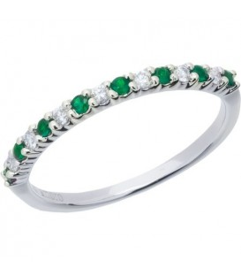 Rings - 0.28 Carat Round Cut Emerald and Diamond Band 18Kt White Gold