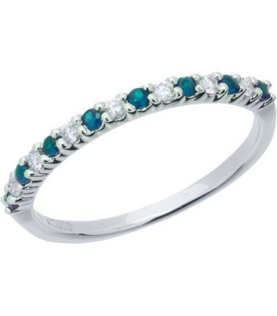Rings - 0.28 Carat Round Cut Sapphire and Diamond Band 18Kt White Gold