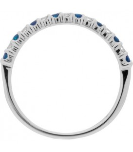 0.28 Carat Round Cut Sapphire and Diamond Band 18Kt White Gold