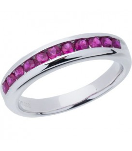 Rings - 0.77 Carat Round Cut Ruby Band 18Kt White Gold