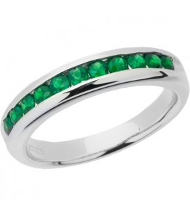 Rings - 0.66 Carat Round Cut Emerald Band 18Kt White Gold