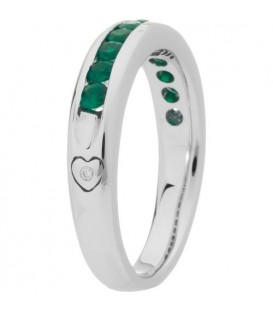 0.66 Carat Round Cut Emerald Band 18Kt White Gold