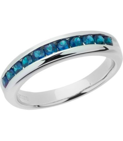 Rings - 0.77 Carat Round Cut Sapphire Band 18Kt White Gold
