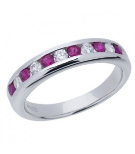 Rings - 0.66 Carat Round Cut Ruby and Diamond Band 18Kt White Gold