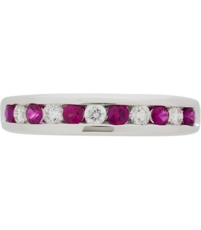 0.66 Carat Round Cut Ruby and Diamond Band 18Kt White Gold
