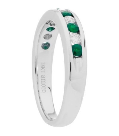 0.60 Carat Round Cut Emerald and Diamond Band 18Kt White Gold