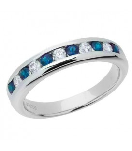 More about 0.66 Carat Round Cut Sapphire and Diamond Band 18Kt White Gold