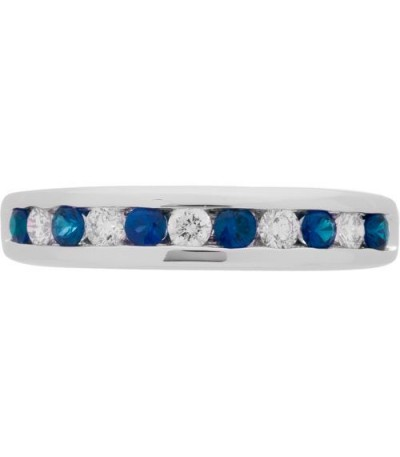 0.66 Carat Round Cut Sapphire and Diamond Band 18Kt White Gold