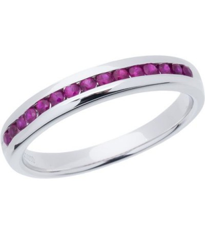 Rings - 0.30 Carat Round Cut Ruby Band 18Kt White Gold
