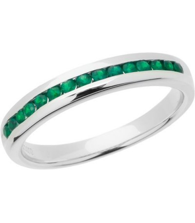 Rings - 0.30 Carat Round Cut Emerald Band 18Kt White Gold