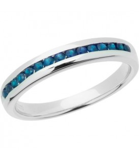 Rings - 0.30 Carat Round Cut Sapphire Band 14Kt White Gold